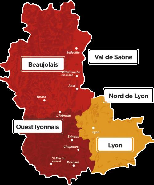 carte détaillée lyon beaujolais et ouest lyonnais
