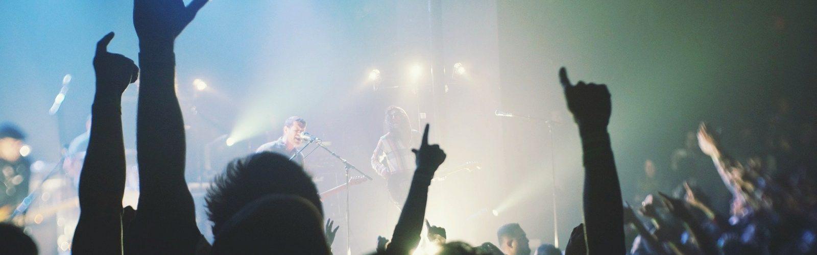 public et mains levées lors d'un concert